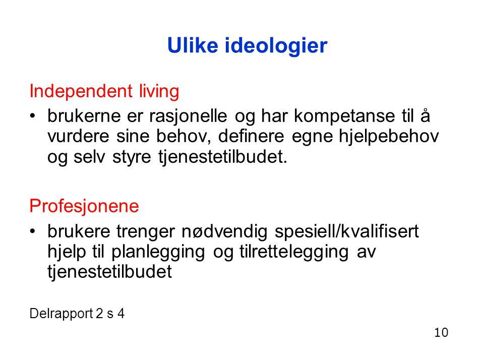 Ulike ideologier Independent living brukerne er rasjonelle og har kompetanse til å vurdere sine behov, definere egne hjelpebehov og selv styre tjenest