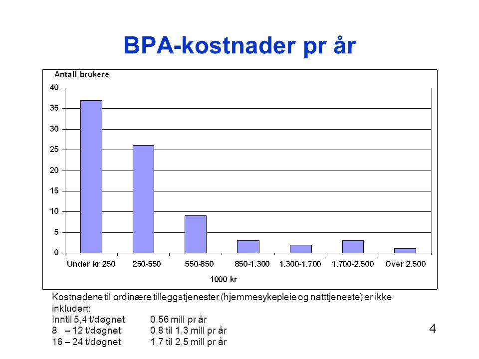 BPA-kostnader pr år Kostnadene til ordinære tilleggstjenester (hjemmesykepleie og natttjeneste) er ikke inkludert: Inntil 5,4 t/døgnet: 0,56 mill pr å