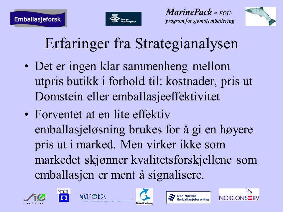 MarinePack - FOU- program for sjømatemballering Erfaringer fra Strategianalysen Det er ingen klar sammenheng mellom utpris butikk i forhold til: kostnader, pris ut Domstein eller emballasjeeffektivitet Forventet at en lite effektiv emballasjeløsning brukes for å gi en høyere pris ut i marked.