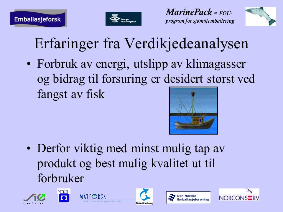 MarinePack - FOU- program for sjømatemballering Erfaringer fra Verdikjedeanalysen Forbruk av energi, utslipp av klimagasser og bidrag til forsuring er desidert størst ved fangst av fisk Derfor viktig med minst mulig tap av produkt og best mulig kvalitet ut til forbruker
