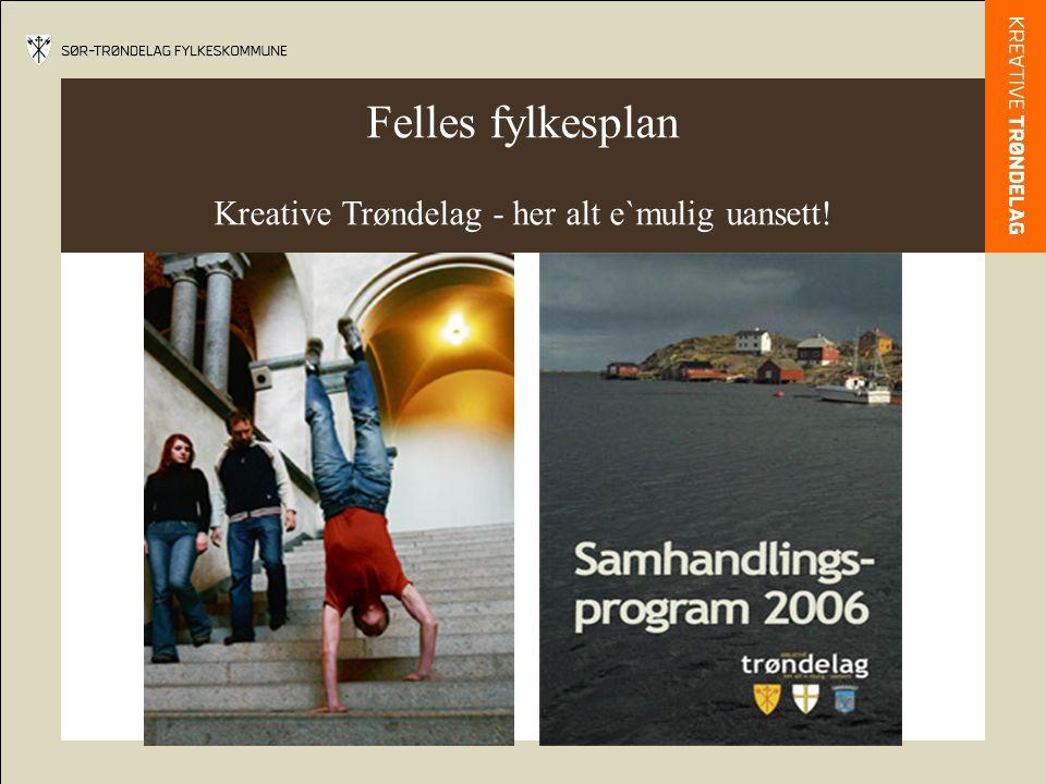 Felles fylkesplan Kreative Trøndelag - her alt e`mulig uansett!