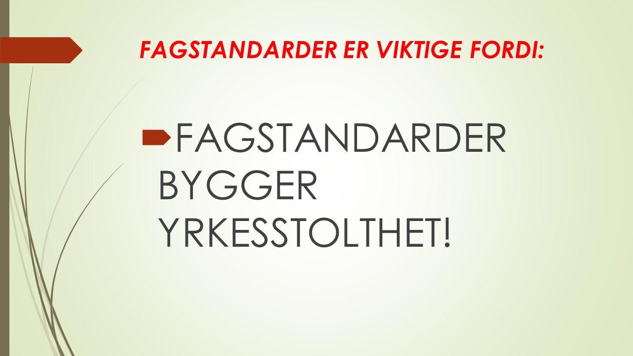 FAGSTANDARDER ER VIKTIGE FORDI:  FAGSTANDARDER BYGGER YRKESSTOLTHET!
