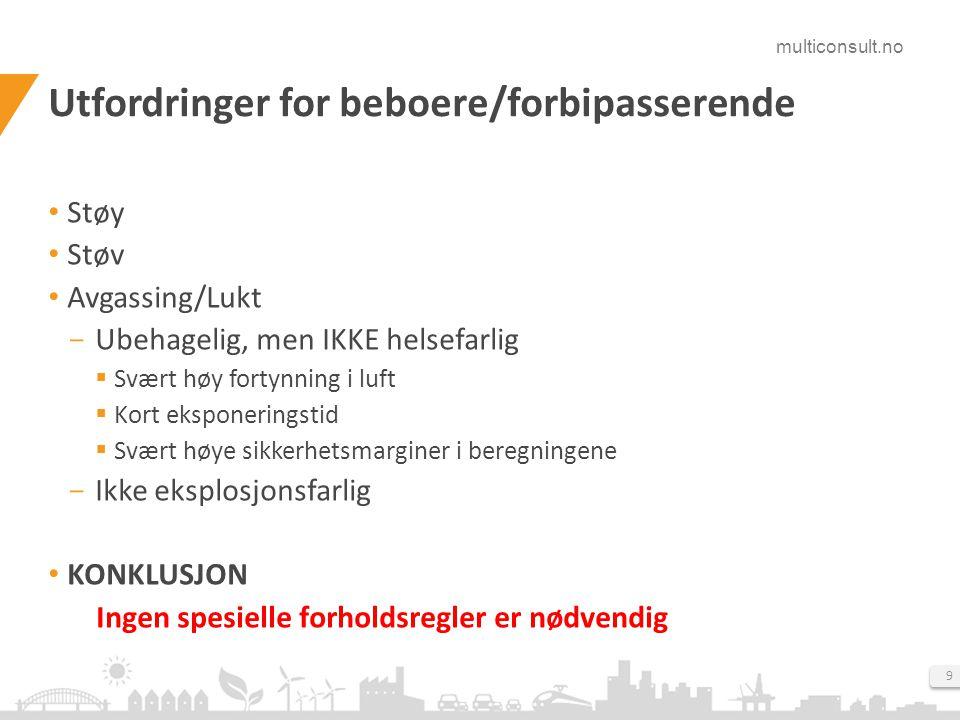 multiconsult.no 9 Utfordringer for beboere/forbipasserende Støy Støv Avgassing/Lukt  Ubehagelig, men IKKE helsefarlig  Svært høy fortynning i luft 