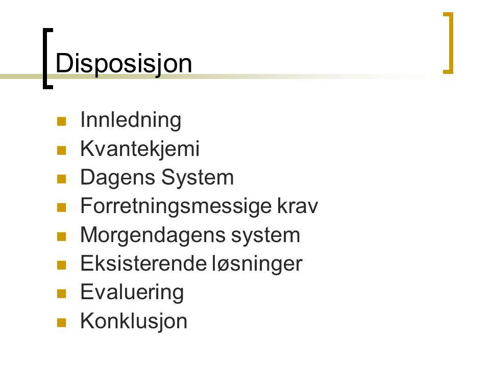 Disposisjon Innledning Kvantekjemi Dagens System Forretningsmessige krav Morgendagens system Eksisterende løsninger Evaluering Konklusjon