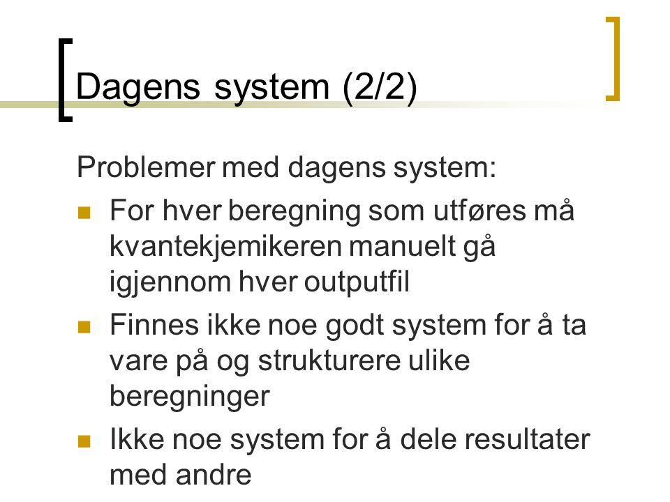 Dagens system (2/2) Problemer med dagens system: For hver beregning som utføres må kvantekjemikeren manuelt gå igjennom hver outputfil Finnes ikke noe
