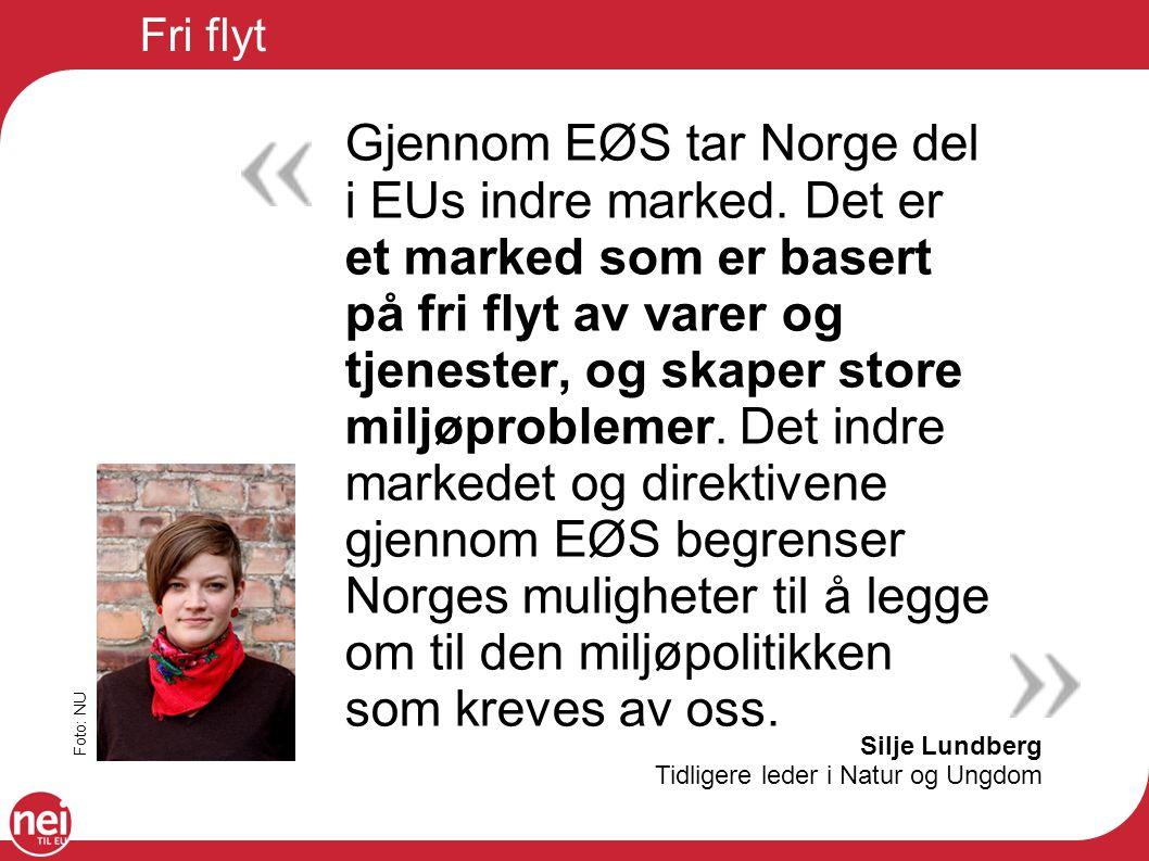 Fri flyt Silje Lundberg Tidligere leder i Natur og Ungdom Gjennom EØS tar Norge del i EUs indre marked. Det er et marked som er basert på fri flyt av