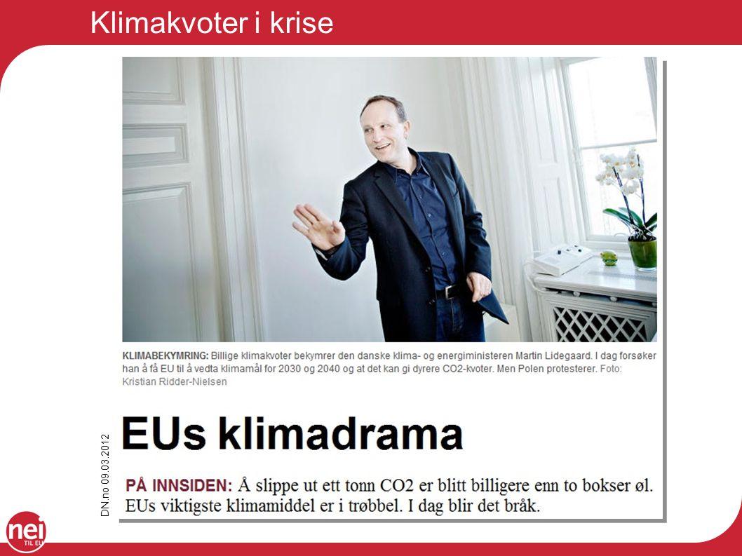 Klimakvoter i krise DN.no 09.03.2012