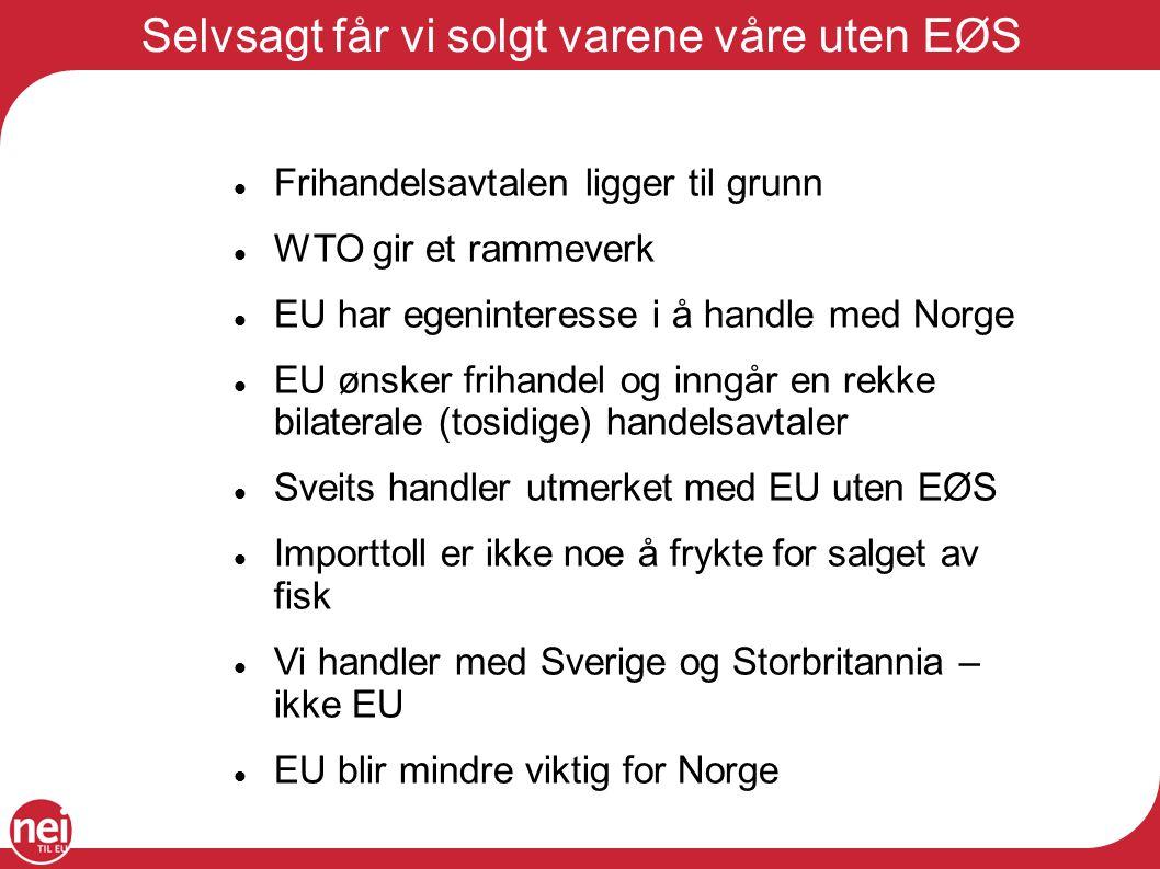Selvsagt får vi solgt varene våre uten EØS Frihandelsavtalen ligger til grunn WTO gir et rammeverk EU har egeninteresse i å handle med Norge EU ønsker
