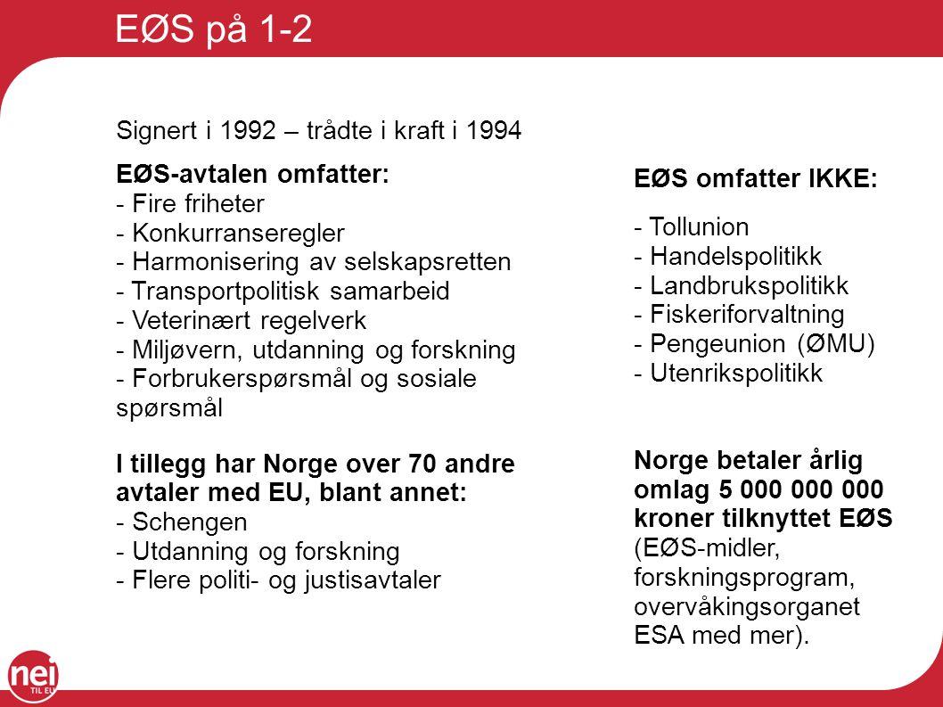 EØS på 1-2 Signert i 1992 – trådte i kraft i 1994 EØS-avtalen omfatter: - Fire friheter - Konkurranseregler - Harmonisering av selskapsretten - Transp