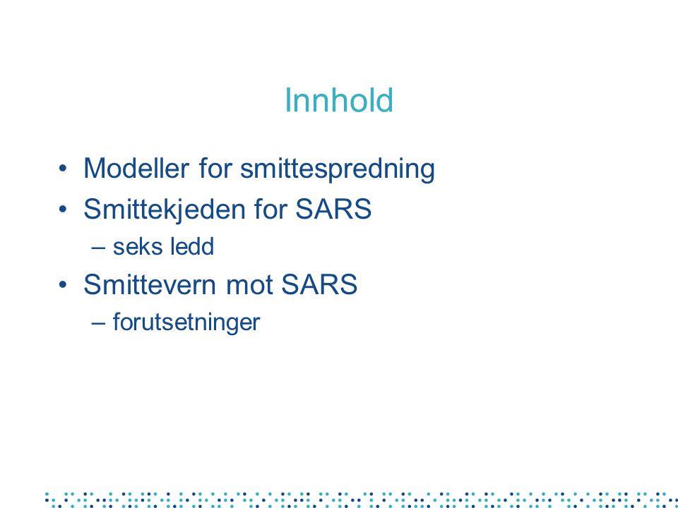 Innhold Modeller for smittespredning Smittekjeden for SARS –seks ledd Smittevern mot SARS –forutsetninger