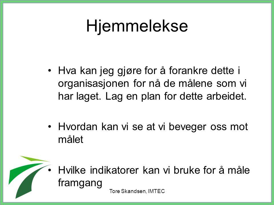 Tore Skandsen, IMTEC Hva kan jeg gjøre for å forankre dette i organisasjonen for nå de målene som vi har laget. Lag en plan for dette arbeidet. Hvorda