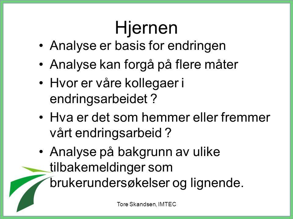 Tore Skandsen, IMTEC Analyse er basis for endringen Analyse kan forgå på flere måter Hvor er våre kollegaer i endringsarbeidet ? Hva er det som hemmer