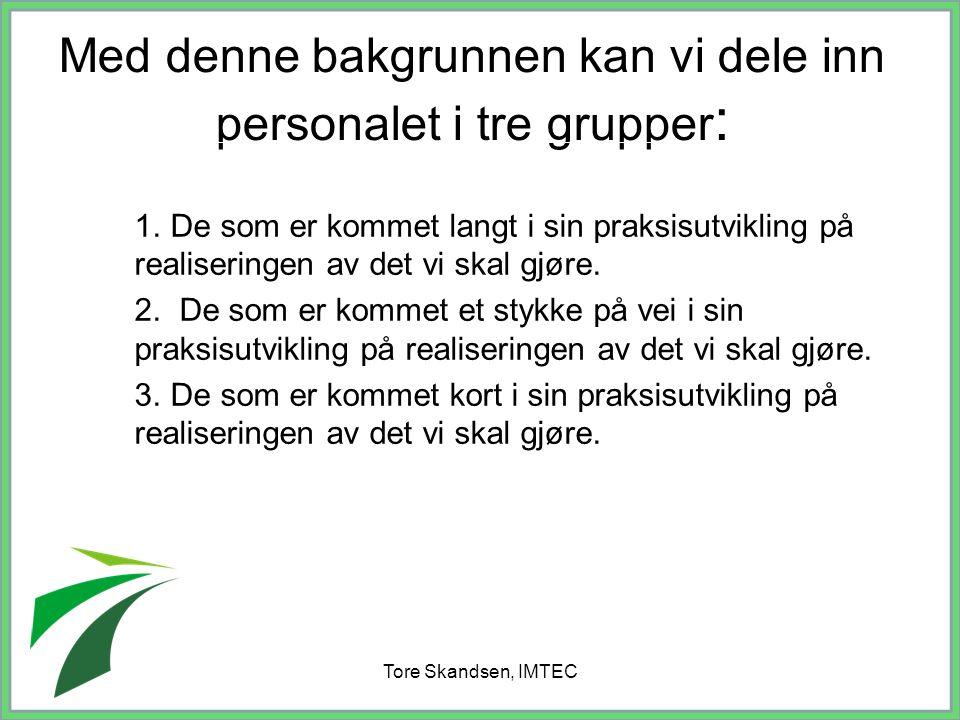 Tore Skandsen, IMTEC Med denne bakgrunnen kan vi dele inn personalet i tre grupper : 1. De som er kommet langt i sin praksisutvikling på realiseringen