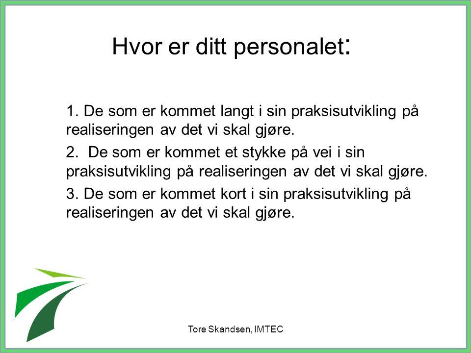 Tore Skandsen, IMTEC Hvor er ditt personalet : 1. De som er kommet langt i sin praksisutvikling på realiseringen av det vi skal gjøre. 2. De som er ko
