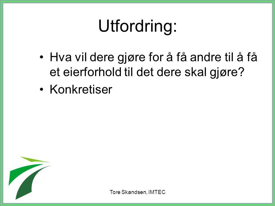 Tore Skandsen, IMTEC Utfordring: Hva vil dere gjøre for å få andre til å få et eierforhold til det dere skal gjøre? Konkretiser