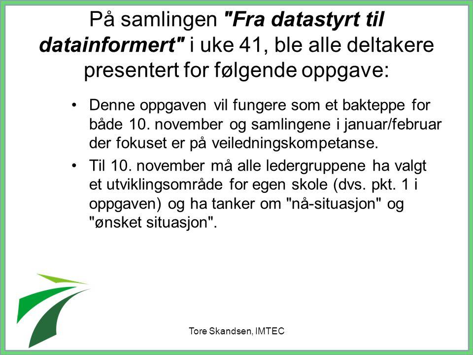 Tore Skandsen, IMTEC Fasene med resultater INSTITUSJO- NALISERING IMPLEMEN- TERING INITIERING TID Resultater