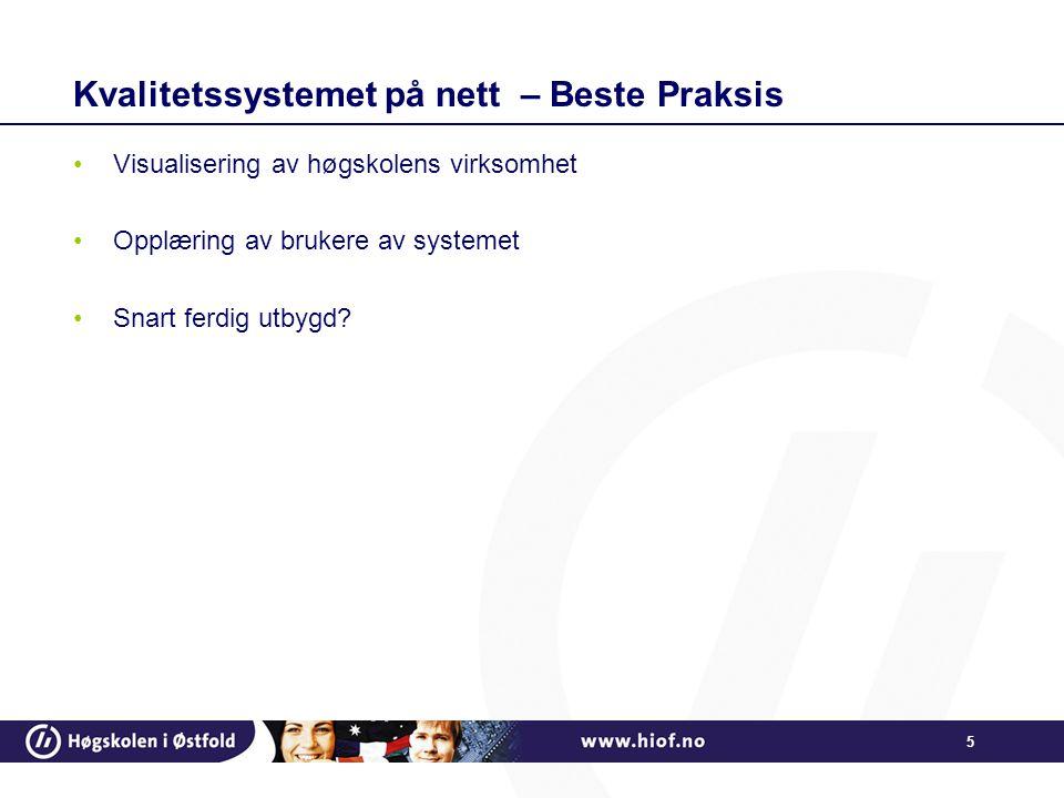 5 Kvalitetssystemet på nett – Beste Praksis Visualisering av høgskolens virksomhet Opplæring av brukere av systemet Snart ferdig utbygd?