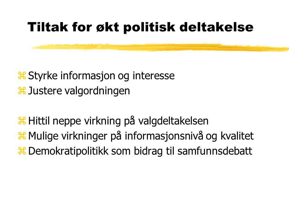 Tiltak for økt politisk deltakelse zStyrke informasjon og interesse zJustere valgordningen zHittil neppe virkning på valgdeltakelsen zMulige virkninger på informasjonsnivå og kvalitet zDemokratipolitikk som bidrag til samfunnsdebatt