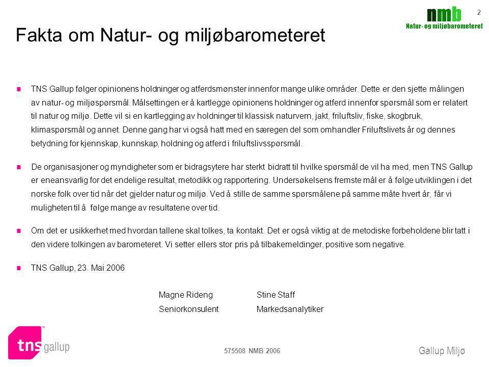 Gallup Miljø nmbnmb Natur- og miljøbarometeret 575508 NMB 2006 63 Friluftslivets år 2005- påvirkning på framtidig atferd 7% av de som hadde kjennskap mener at de vil bruke naturen mer som en følge av at det var friluftslivets år 2005.