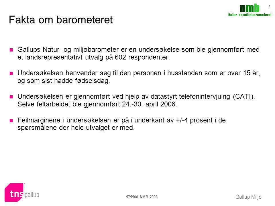 Gallup Miljø nmbnmb Natur- og miljøbarometeret 575508 NMB 2006 14 Tillit til organisasjoner Den Norske Turistforening DNT er fortsatt den organisasjonen flest har tillit til.