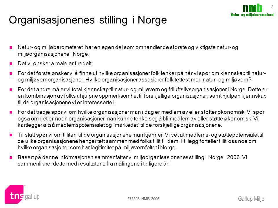 Gallup Miljø nmbnmb Natur- og miljøbarometeret 575508 NMB 2006 8 Organisasjonenes stilling i Norge Natur- og miljøbarometeret har en egen del som omha
