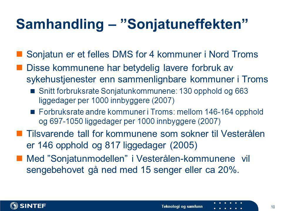 """Teknologi og samfunn 10 Samhandling – """"Sonjatuneffekten"""" Sonjatun er et felles DMS for 4 kommuner i Nord Troms Disse kommunene har betydelig lavere fo"""