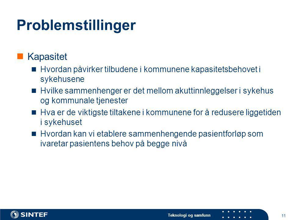 Teknologi og samfunn 11 Problemstillinger Kapasitet Hvordan påvirker tilbudene i kommunene kapasitetsbehovet i sykehusene Hvilke sammenhenger er det m