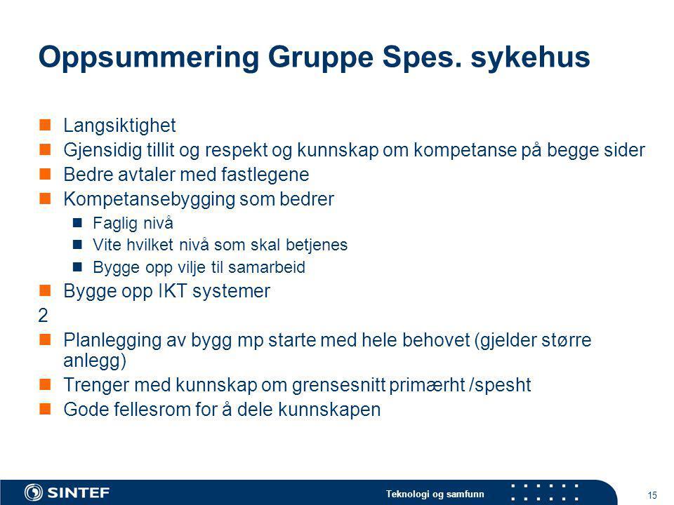 Teknologi og samfunn 15 Oppsummering Gruppe Spes. sykehus Langsiktighet Gjensidig tillit og respekt og kunnskap om kompetanse på begge sider Bedre avt