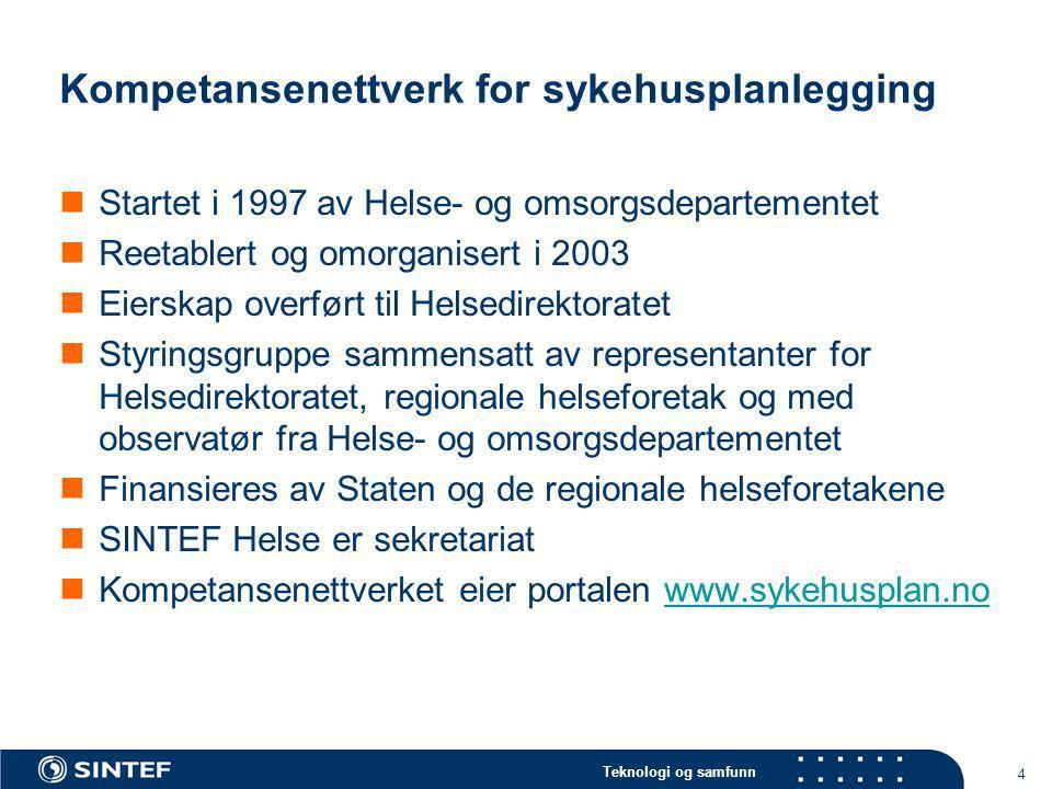Teknologi og samfunn 4 Kompetansenettverk for sykehusplanlegging Startet i 1997 av Helse- og omsorgsdepartementet Reetablert og omorganisert i 2003 Ei