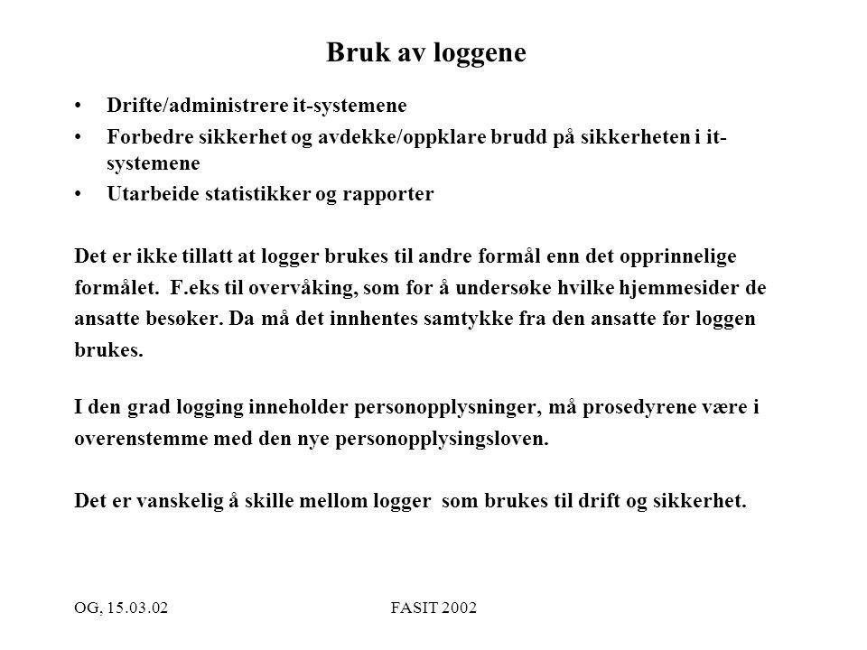 OG, 15.03.02FASIT 2002 Hva logger vi.
