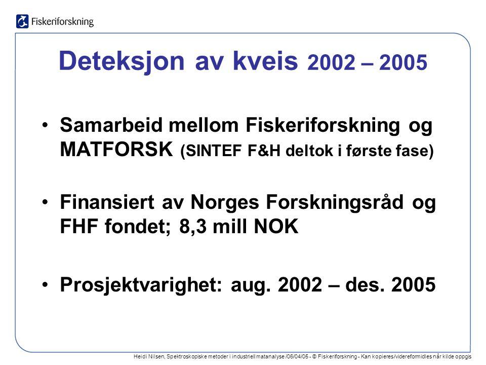 Heidi Nilsen, Spektroskopiske metoder i industriell matanalyse /06/04/05 - © Fiskeriforskning - Kan kopieres/videreformidles når kilde oppgis Deteksjon av kveis 2002 – 2005 Samarbeid mellom Fiskeriforskning og MATFORSK (SINTEF F&H deltok i første fase) Finansiert av Norges Forskningsråd og FHF fondet; 8,3 mill NOK Prosjektvarighet: aug.