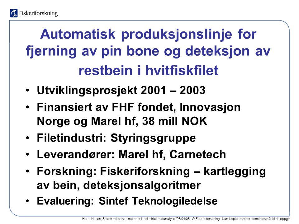 Heidi Nilsen, Spektroskopiske metoder i industriell matanalyse /06/04/05 - © Fiskeriforskning - Kan kopieres/videreformidles når kilde oppgis Oppsummering Automatisk kontroll av kvalitetsfeil og fremmedlegemer: –Gjennomførbart i de fleste tilfeller –Utvikling og kommersialisering: ressurskrevende For best resultat: –Få med utstyrsleverandører –Få med foredlingsindustrien –Få med forskerne I et konstruktivt samarbeid Foto: Frank Gregersen, Fiskeriforskning
