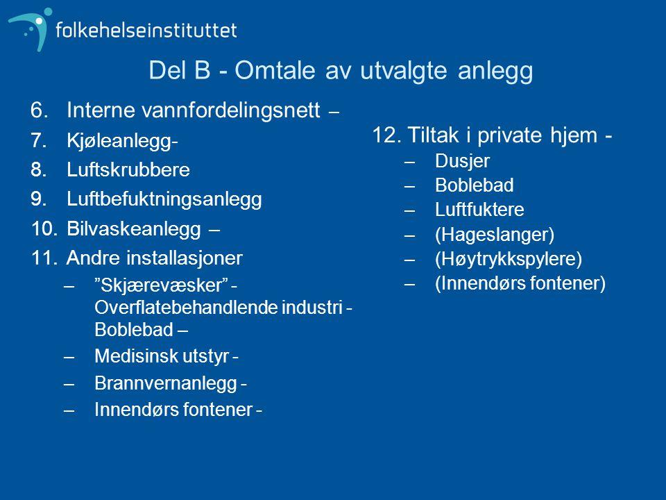 """6.Interne vannfordelingsnett – 7.Kjøleanlegg- 8.Luftskrubbere 9.Luftbefuktningsanlegg 10.Bilvaskeanlegg – 11.Andre installasjoner –""""Skjærevæsker"""" - Ov"""