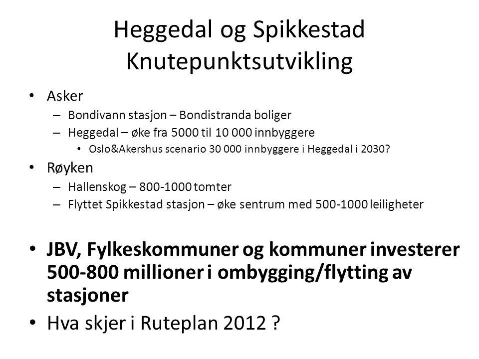 Heggedal og Spikkestad Knutepunktsutvikling Asker – Bondivann stasjon – Bondistranda boliger – Heggedal – øke fra 5000 til 10 000 innbyggere Oslo&Akershus scenario 30 000 innbyggere i Heggedal i 2030.