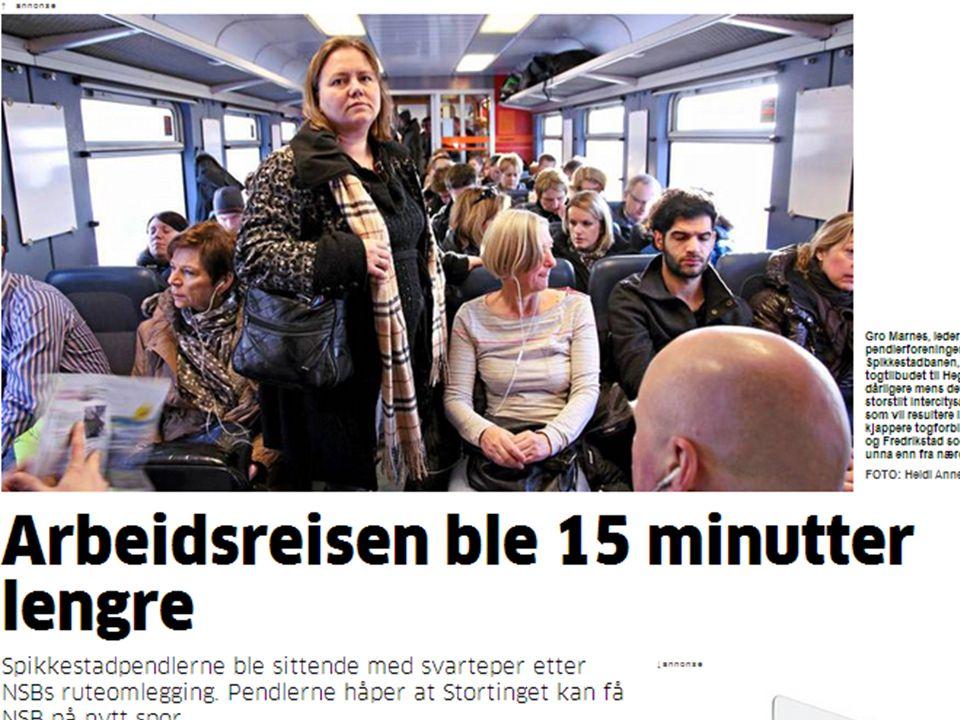 NSB – Konsekvenser på befolkningsveksten Tidsreisekart – 45 min fra Oslo S Spikkestad (44km) er nå 55 min fra Oslo S – like langt som: – Sande 50 min (60 km) – Vestfossen 55 min (67km) Heggedal (30km) er nå 45 minutter fra Oslo S – Mjøndalen 45 min (56km) – Rygge 49 min (65 km)