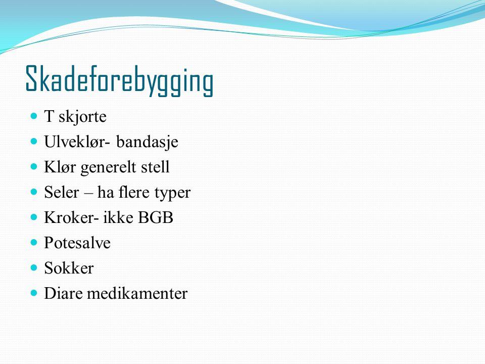 Skadeforebygging T skjorte Ulveklør- bandasje Klør generelt stell Seler – ha flere typer Kroker- ikke BGB Potesalve Sokker Diare medikamenter