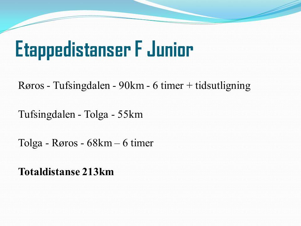 Etappedistanser F Junior Røros - Tufsingdalen - 90km - 6 timer + tidsutligning Tufsingdalen - Tolga - 55km Tolga - Røros - 68km – 6 timer Totaldistans