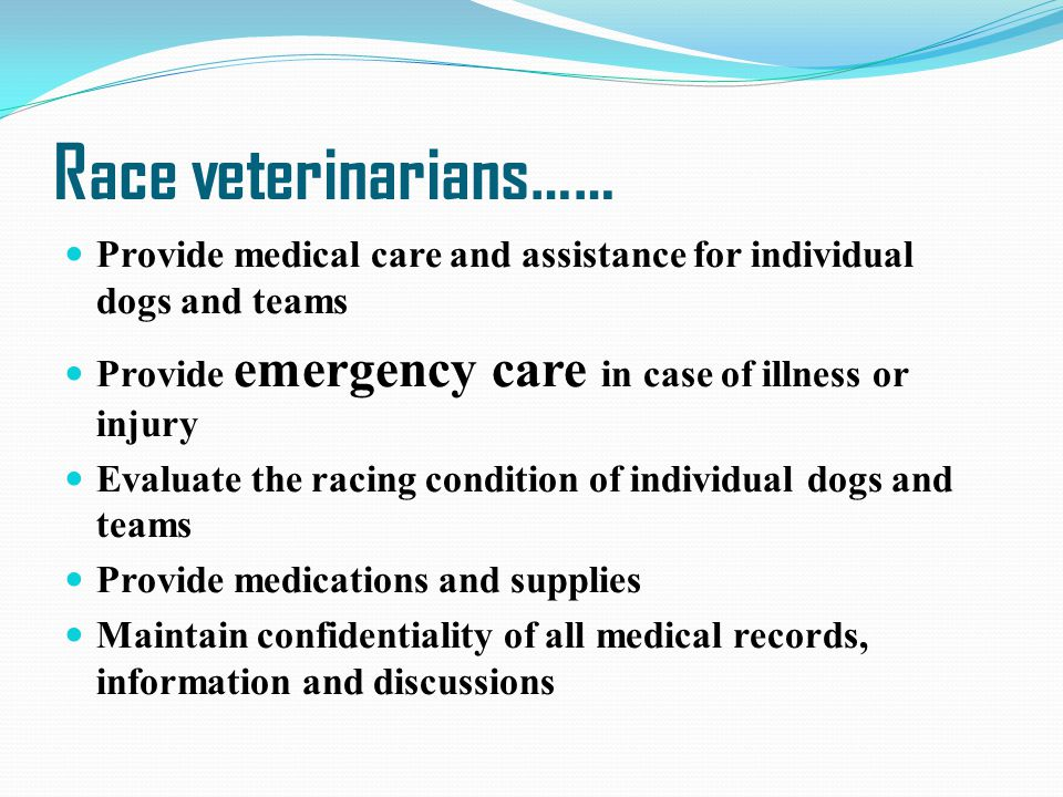 Race veterinarians…… Provide medical care and assistance for individual dogs and teams Provide emergency care in case of illness or injury Evaluate th