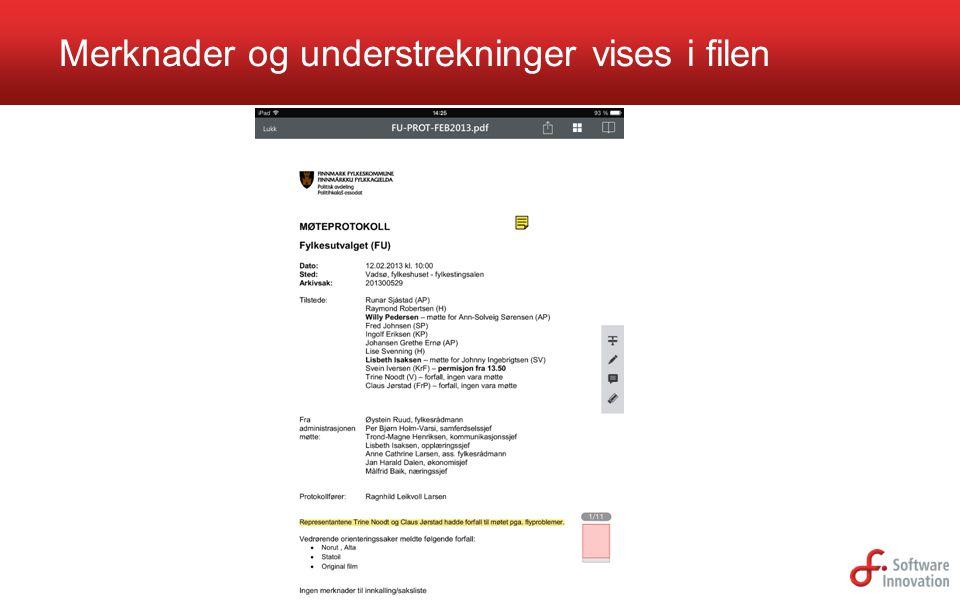 Merknader og understrekninger vises i filen
