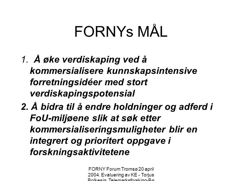 Evaluering av KEene Presentasjon på FORNY Forum i Tromsø 20 april 2004 Torjus Bolkesjø Telemarksforsking-Bø
