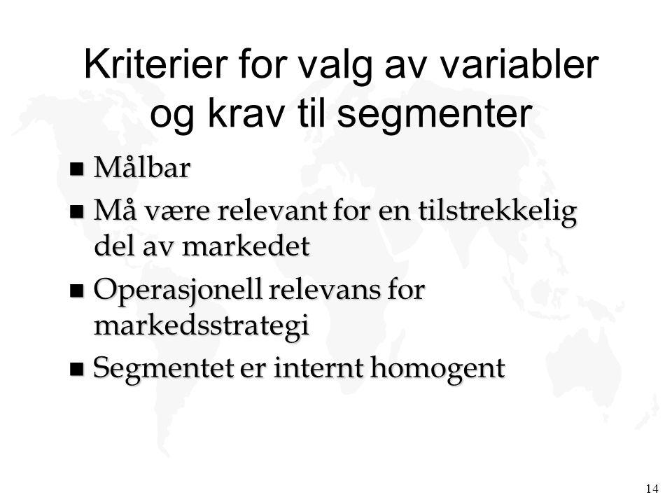 14 Kriterier for valg av variabler og krav til segmenter n Målbar n Må være relevant for en tilstrekkelig del av markedet n Operasjonell relevans for