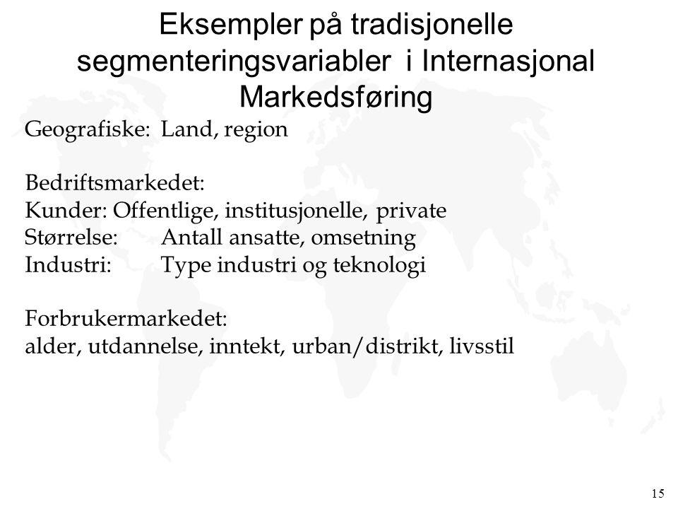 15 Eksempler på tradisjonelle segmenteringsvariabler i Internasjonal Markedsføring Geografiske:Land, region Bedriftsmarkedet: Kunder: Offentlige, inst