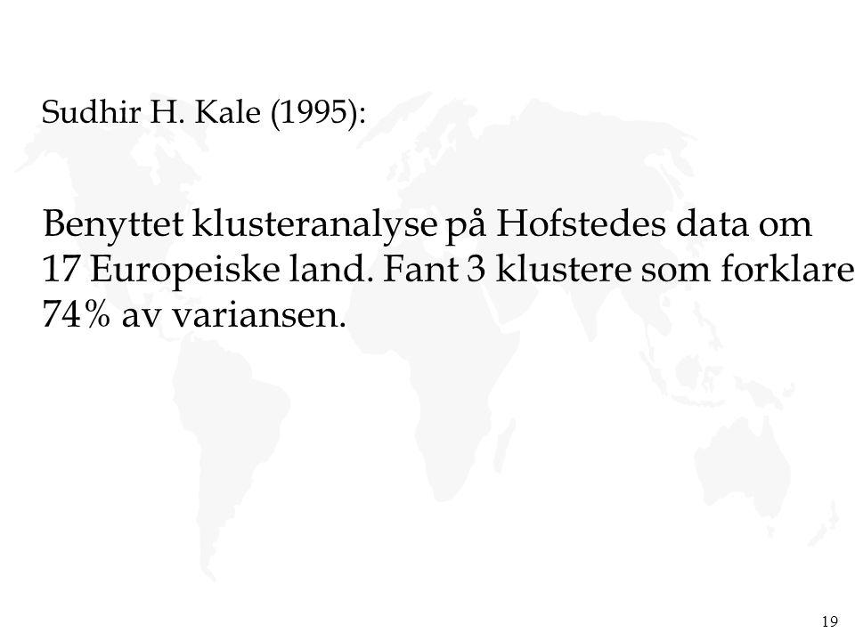 19 Sudhir H. Kale (1995): Benyttet klusteranalyse på Hofstedes data om 17 Europeiske land. Fant 3 klustere som forklarer 74% av variansen.