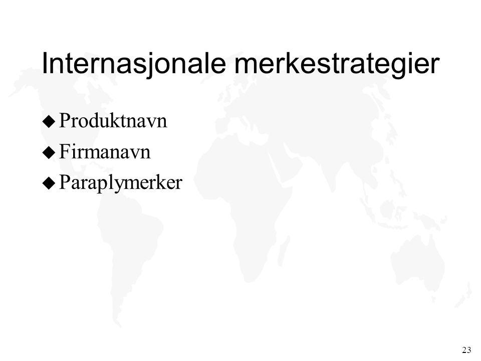 23 Internasjonale merkestrategier u Produktnavn u Firmanavn u Paraplymerker