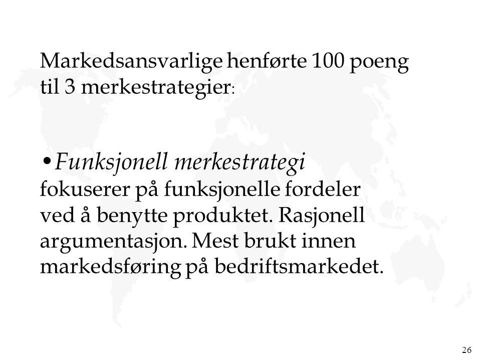 26 Markedsansvarlige henførte 100 poeng til 3 merkestrategier : Funksjonell merkestrategi fokuserer på funksjonelle fordeler ved å benytte produktet.