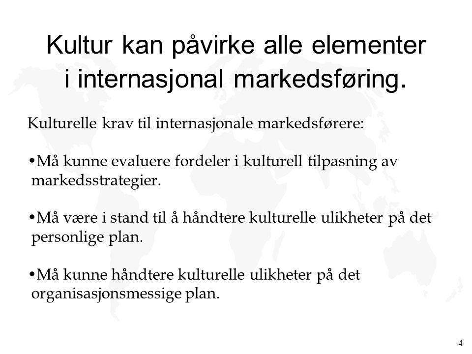 4 Kultur kan påvirke alle elementer i internasjonal markedsføring. Kulturelle krav til internasjonale markedsførere: Må kunne evaluere fordeler i kult