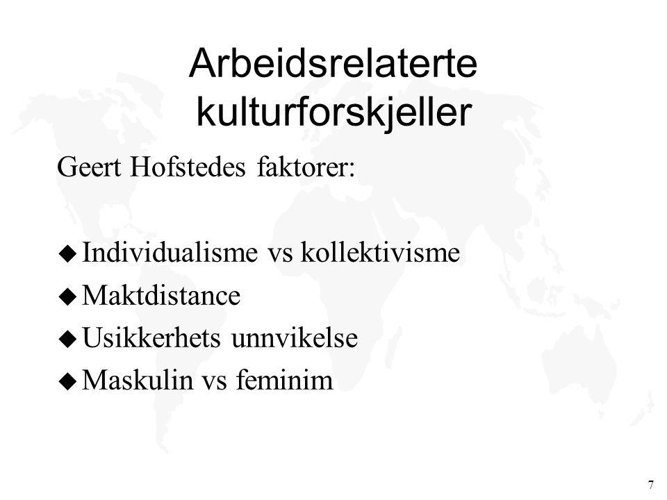 7 Arbeidsrelaterte kulturforskjeller Geert Hofstedes faktorer: u Individualisme vs kollektivisme u Maktdistance u Usikkerhets unnvikelse u Maskulin vs