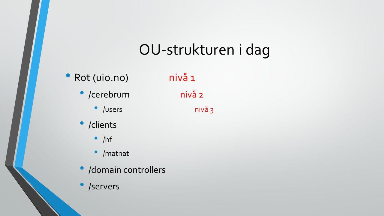 OU-strukturen i dag Rot (uio.no) nivå 1 /cerebrumnivå 2 /usersnivå 3 /clients /hf /matnat /domain controllers /servers