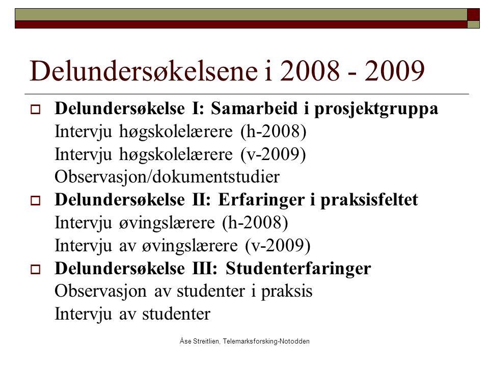 Åse Streitlien, Telemarksforsking-Notodden Delundersøkelsene i 2008 - 2009  Delundersøkelse I: Samarbeid i prosjektgruppa Intervju høgskolelærere (h-