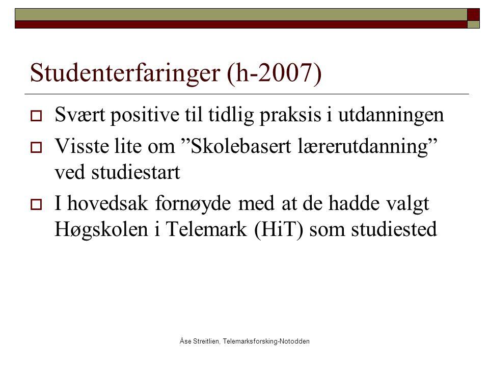 """Åse Streitlien, Telemarksforsking-Notodden Studenterfaringer (h-2007)  Svært positive til tidlig praksis i utdanningen  Visste lite om """"Skolebasert"""